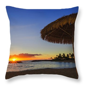 Sunset Under A Bamboo Umbrella In Hawaii  Throw Pillow