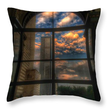 Sunset View Of Chicago Throw Pillow
