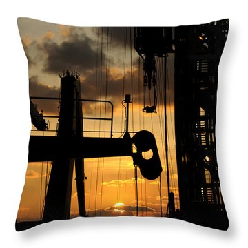 Sunset Viewed From An Oil Rig Throw Pillow