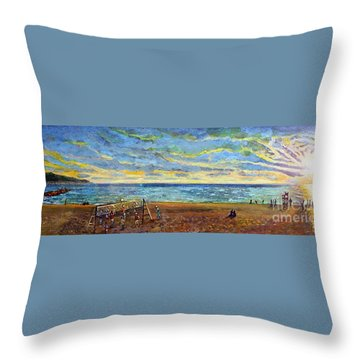 Throw Pillow featuring the painting Sunset Volleyball At Old Silver Beach by Rita Brown