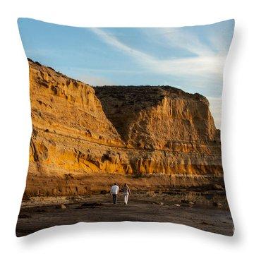 Sunset Walk At Flat Rock  La Jolla California Throw Pillow by Darleen Stry