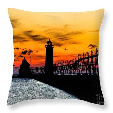 Sunset Walking On Grand Haven Pier Throw Pillow by Nick Zelinsky