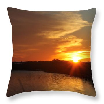 Sunset Wetlands Throw Pillow by Robert Banach