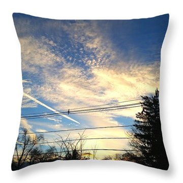 Sunset With Beautiful Sky Throw Pillow