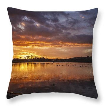 Sunset With Clouds Over Malibu Beach Lagoon Estuary Throw Pillow by Jerry Cowart