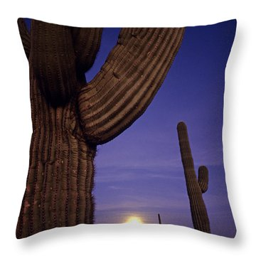 Sunset With Moonise Behind Saguaro Cactus In Desert Southwest Ar Throw Pillow