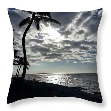 Sunset With Palm Trees Throw Pillow by Pamela Walton