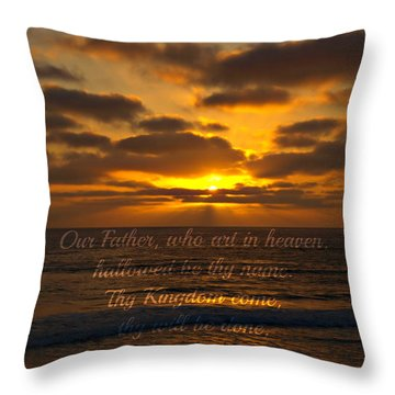 Sunset With Prayer Throw Pillow by Sharon Soberon