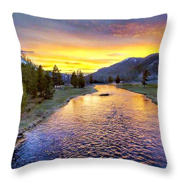 Sunset Yellowstone National Park Madison River Throw Pillow