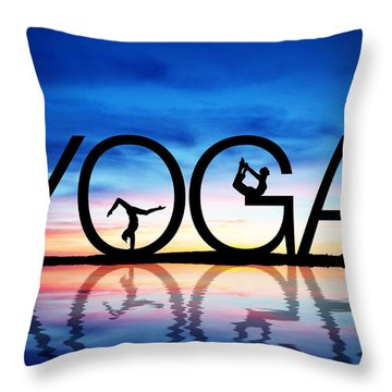 Sunset Yoga Throw Pillow by Aged Pixel