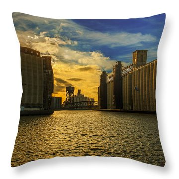 Sunsets On A River Through An Industrial Canyon Throw Pillow