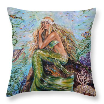 Sunshine Mermaid Square Throw Pillow