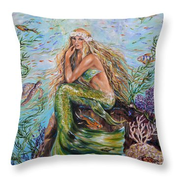 Sunshine Mermaid Square Throw Pillow by Linda Olsen