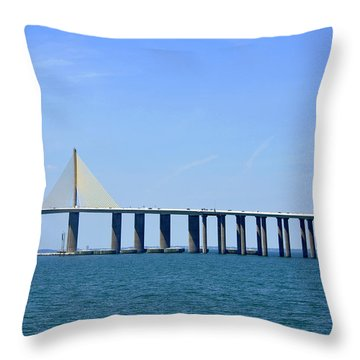 Sunshine Skyway Bridge II Tampa Bay Florida Usa Throw Pillow by Sally Rockefeller