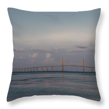 Throw Pillow featuring the photograph Sunshine Skyway Bridge by Steven Sparks