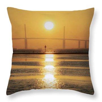 Throw Pillow featuring the photograph Sunshine Skyway Bridge Sunrise by Steven Sparks