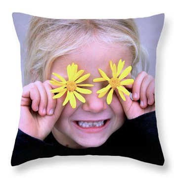 Sunshine Smile Throw Pillow by Suzanne Oesterling
