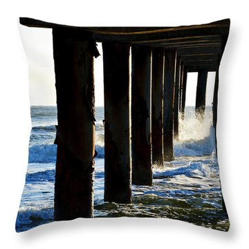 Sunwash At St. Johns Pier Throw Pillow by Anthony Baatz