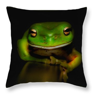 Super Frog 01 Throw Pillow by Kevin Chippindall