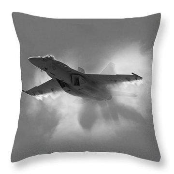 Super Hornet Shockwave Bw Throw Pillow