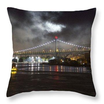 Super Moon And Triboro Bridge Throw Pillow