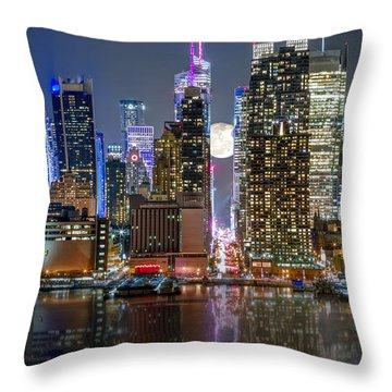 Super Moon At 42nd Street  Throw Pillow