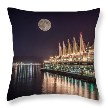 Super Moon Over Canada Place Vancouver - By Sabine Edrissi Throw Pillow