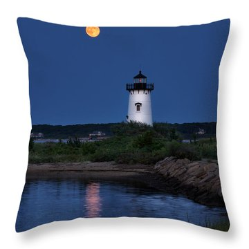 Super Moon Over Edgartown Lighthouse Throw Pillow