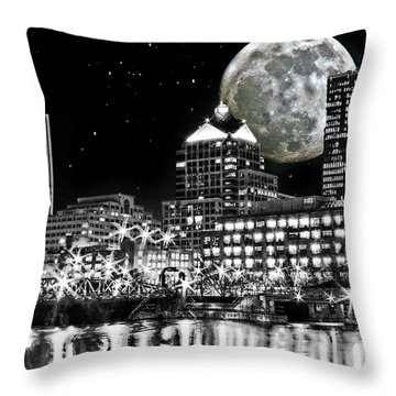 Super Moon Over Rochester Throw Pillow by Richard Engelbrecht