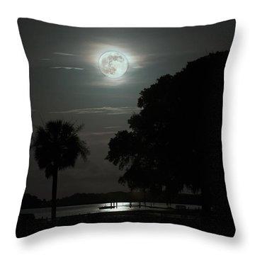 Super Moon Over Wimbee Creek Throw Pillow