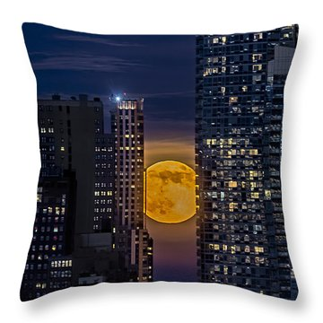 Super Moon Rises Over The Big Apple Throw Pillow by Susan Candelario