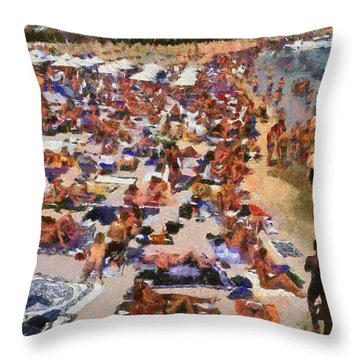 Super Paradise Beach In Mykonos Island Throw Pillow by George Atsametakis