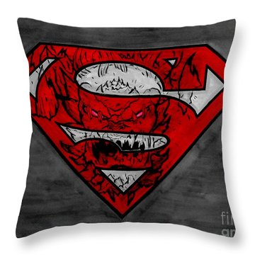 Superman And Doomsday R G Throw Pillow