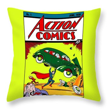First Edition - Superman Comic Book  Throw Pillow
