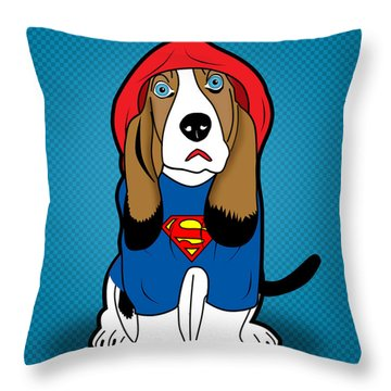 Superman Dog  Throw Pillow by Mark Ashkenazi
