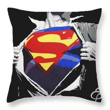 Superman Throw Pillow by Erik Pinto