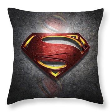 Superman Man Of Steel Digital Artwork Throw Pillow
