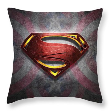 Superman Symbol Digital Artwork Throw Pillow