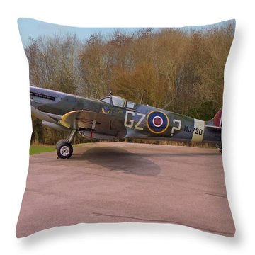 Supermarine Spitfire Hf Mk. Ixe Mj730 Throw Pillow