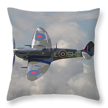 Supermarine Spitfire Throw Pillow by Pat Speirs