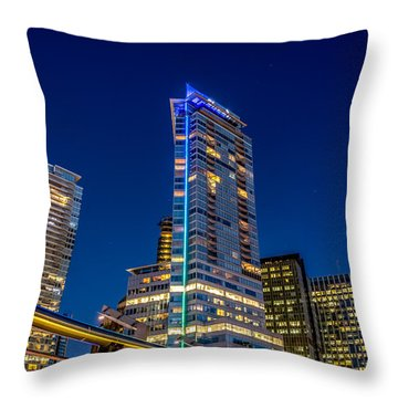 Supermoon Over Downtown Vancouver - By Sabine Edrissi Throw Pillow