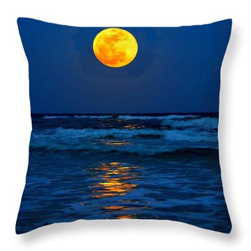 Supermoon Rising On Navarre Beach 20120505c Throw Pillow by Jeff at JSJ Photography