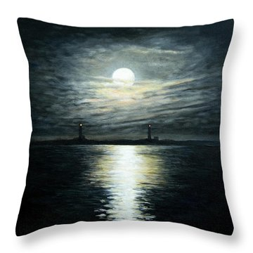 Supermoon Rising Over Thacher Island Throw Pillow by Eileen Patten Oliver