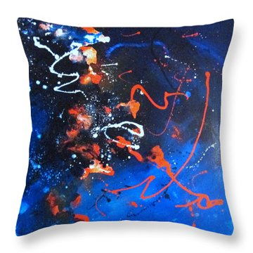 Throw Pillow featuring the painting Supernova by Mary Kay Holladay