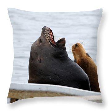 Supersized Sea Lion And Friend Throw Pillow