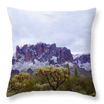 Superstition Mountain Snow Throw Pillow