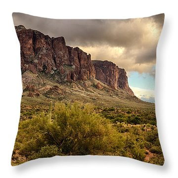 Superstition Mountains  Throw Pillow by Saija  Lehtonen