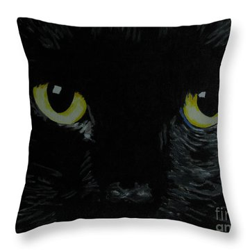 Superstitious Eyes Throw Pillow by Nancie Johnson