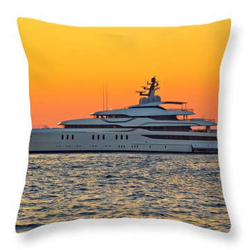 Superyacht On Yellow Sunset View Throw Pillow by Brch Photography