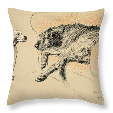 Supplication Throw Pillow by Cecil Charles Windsor Aldin